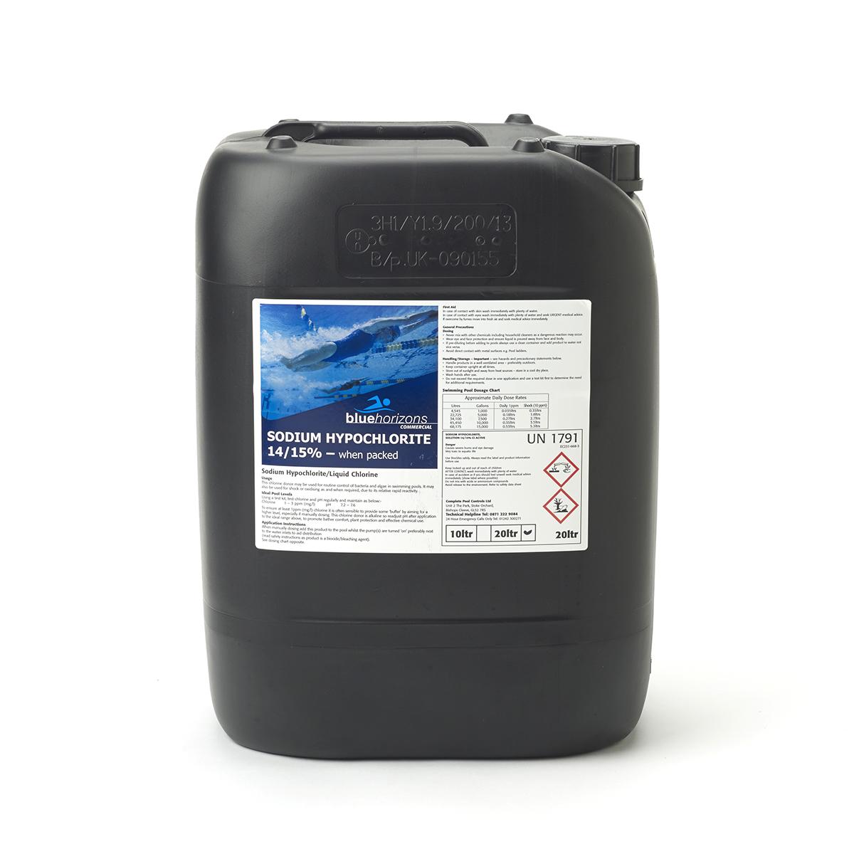 Sodium Hypochlorite 14 15 Liquid Chlorine 10ltr